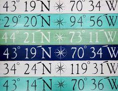 Custom Compass Rose Latitude / Longitude - 43 x 6 Sign: Beach Decor, Coastal Decor, Nautical Decor, Tropical Decor, Luxury Beach Cottage Decor Beach Cottage Decor, Coastal Decor, Coastal Cottage, Beach Theme Bathroom, Bathroom Ideas, Bathroom Plans, Small Bathroom, Shower Ideas, Latitude Longitude