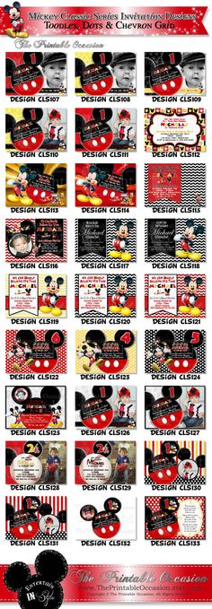 Items similar to SAME DAY SVC Mickey Mouse Red Yellow Black Birthday Invitation, Great for First Second Third Fourth or Fifth Birthdays, Mickey Invitation on Etsy Printable Invitations, Birthday Invitations, Party Printables, Invites, Polka Dot Birthday, Mickey Birthday, Birthday Ideas, Red And Blue, Yellow Black
