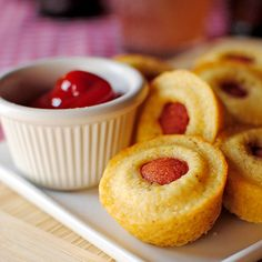 Mini Corn Dog Muffins. Sweet cornbread and salty hot dog combine in a fun, poppable snack, perfect for the Super Bowl.