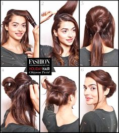 Holiday hair tutorial simple chignon twist step-by-step