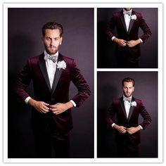 Tailor Made Burgundy Blazer Groom Tuxedos Black Satin Lapel 3 Pieces One Button Groomsmen Best Man Men's Weddings Prom Suits