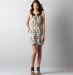 #LOFTSummerGetaway Petite Snake Print Linen Embroidered Neck Sleeveless Dress