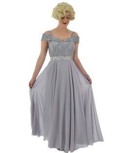 Silver Gray Lace and Chiffon Cold Shoulder Gown Grey Chiffon Dress, Grey Gown, Chiffon Evening Dresses, Chiffon Gown, Lace Dress, Vintage Inspired Outfits, Vintage Outfits, 1920s Formal Dresses, Cold Shoulder Gown