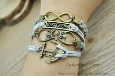 Retro bronze anchor & Infinity charm braceletOwl by Richardwu, $6.90