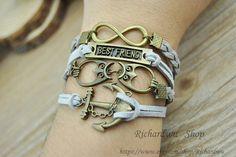 Retro bronze anchor & Infinity charm braceletOwl by Richardwu, $6.90