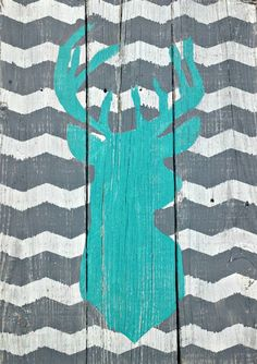 Chevron Stag Reclaimed Wood Sign Handpainted by j2jlocals on Etsy