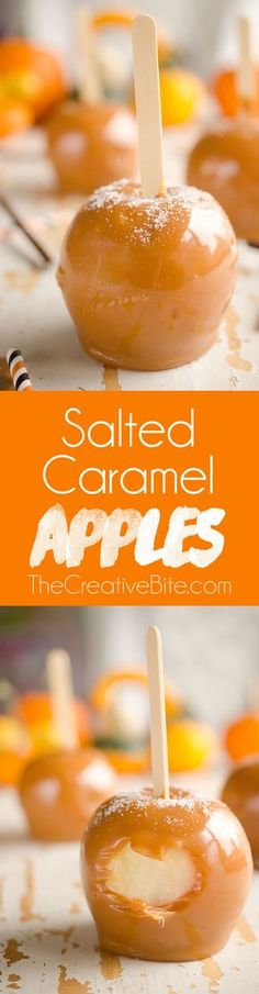 HOMEMADE Salted Caramel Apples are fresh tart apples coated in a rich homemade salted caramel for the perfect fall treat! #Apple #Dessert #Fall