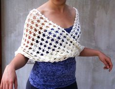 Hand crocheted Lace Cowl White lace Wedding capelet by HEraMade