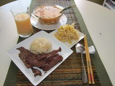 Entire meal: lemon grass beef, Korean style soy bean sprout salad & soft tofu soup