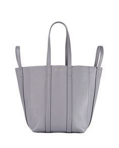 BALENCIAGA LAUNDRY CABAS 4-STRAP LEATHER TOTE BAG, GRAY. #balenciaga #bags #shoulder bags #hand bags #leather #tote #