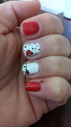 Red, white, black, poke a dot, heart nails, nail art