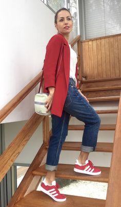 adidas gazelle mujer gris y rojo