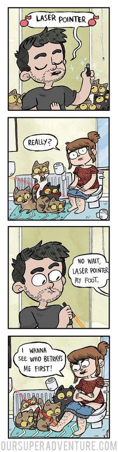 Our Super Adventure :: laser pointer Cute Comics, Funny Comics, Funny Cute, Hilarious, Super Adventure, Online Comics, Comics Story, Short Comics, Pokemon