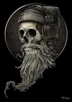 Pin by Horst Kmieciak on Kopfhörer tattoo in 2020 Totenkopf Tattoos, Beard Logo, Beard Tattoo, Skull Tattoos, Tatoos, Trash Polka Tattoos, Tattoo Model Mann, Hirsch Tattoo, Skull Art