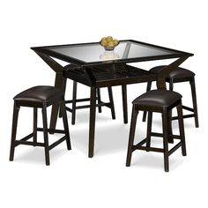 Mystic Counter-Height Table and 4 Backless Stools - Merlot and Chocolate | American Signature Furniture