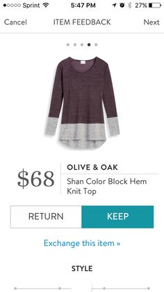 Shan Color Block Hem Knit Top by Olive & Oak. This is called burgundy but looks purple to me with gray on the bottom. Long knit top. This is very thin and see through so will require a cami underneath. like the color combination. Stitch Fix Exclusive. Received in ix #43. KEPT. Price $68, with keep all discount $51.