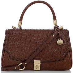 Brahmin Marion Ostrich Flap Bag ($275) ❤ liked on Polyvore