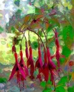 Fuschia - acrylic & digital painting by ©Jeanie Campbell of ArtByJeaniecom (via Etsy)