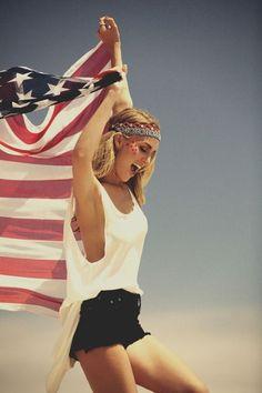 All American, Styled American, girl holding american flag blanket http://www.styledamerican.com
