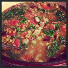 Food For Thought: Recipes & Ideas for Healthy Living : Lentil, Eggplant, and Kale Soup