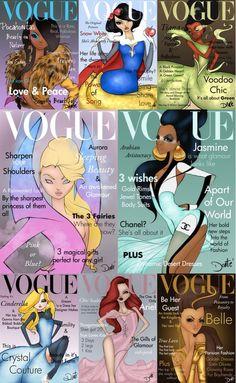 Disney princesses posing for Vogue magazine