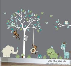Enchanted Interiors Premium Self Adhesive Fabric Nursery Wall Art Stickers Jungle Wall Decals featuring a Safari Tree Swinging Monkeys a Giraffeu2026 & Enchanted Interiors Premium Self Adhesive Fabric Nursery Wall Art ...
