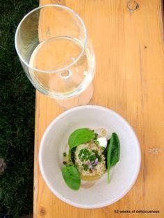 Ravintola Ask: savustettua lahnaa, perunaa ja karhunlaukkaa sekä lasi Taittinger shampanjaa / Taste of Helsinki 2013