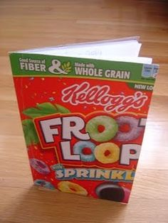 Re-purposed cereal boxes into notebooks.  Great way to use up those cereal boxes