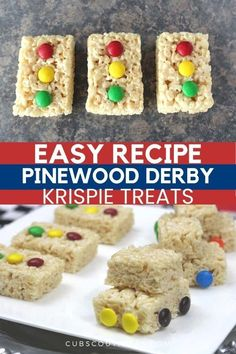 How to make Pinewood Derby stop lights & cars made from Rice Krispie treats! Cub Scouts will love these easy dessert snacks!