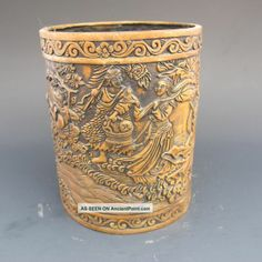 CHINESE BRUSH POTS | Chinese Bronze Brush Pot - Ming Dynasty Xuande Mark Nr Brush Pots ...