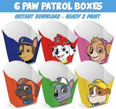 6 Popcorn Box Paw Patrol - Ready to print - Instant Download by Migueluche on Etsy https://www.etsy.com/au/listing/272851568/6-popcorn-box-paw-patrol-ready-to-print