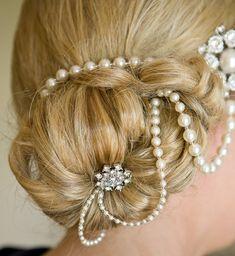 1920s Style Draped Pearl Headpiece Longer by JulesJewellery