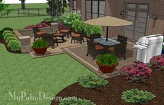 Superieur Contrasting Paver Distinguish The Dining And Fire Pit Areas Of This  Beautiful 490 Sq. Ft. Overlapping Rectangle Patio Design With Seat Wall.  Download Plan.