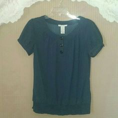 Blue blouse w/ polka dots (stretch) Preloved / in excellent condition Fred David  Tops Blouses
