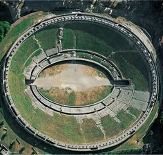 Aerial view of the amphitheater, Pompeii, Italy, ca. 70 BCE.THE REPUBLIC: POMPEII Campania