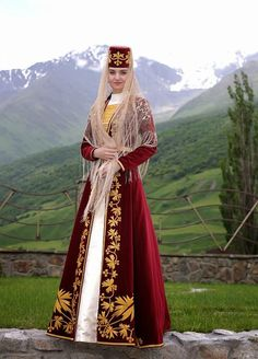 Ossetian, although she looks Crimean Tatar to me. Folk Fashion, Ethnic Fashion, Traditional Fashion, Traditional Dresses, Traditional Wedding, Costume Ethnique, Armenian Culture, Costumes Around The World, Beauty Around The World