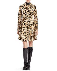 Leopard Print Calf Hair Coat & Silk Sleeveless Dress by Gucci at Neiman Marcus.