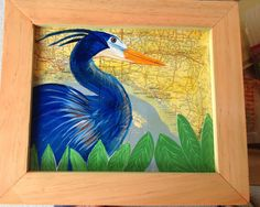 Blue Heron Mixed Media painting by russgang on Etsy