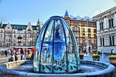 Keskustori Tampere/Finland in HDR-Image.the glass of the vitrine: reflected and at the same time can see trough .I am lucky with the position of the sun at that time! Helsinki, Finland Travel, Finland Trip, Finnish Language, Scandinavian Countries, Journey, Central Square, Denmark, Places To See