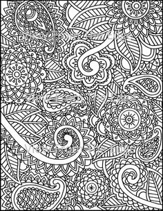 Mehndi Coloring Page Henna Adult Printable PDF by ViewFromTheEdge