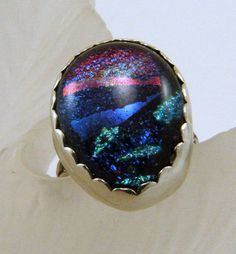 Dichroic Glass and Sterling SIlver Ring  by SilverStringsStrands, $24.00