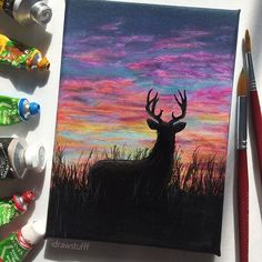Little deer painting this is pretty rushed because I've been so busy recently but I hope you like it ❤ I think I'm gonna do more acrylic paintings bc I want to improve hmm hope your Friday is going goooood