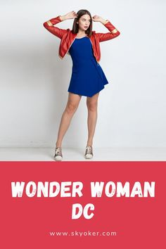 The dress of deep blue color with an element of a light corset, the jacket is made of eco leather. Dc Superhero Girl, Wonder Woman Outfit, Girl Outfits, Casual Outfits, Skater Dress, Leather Jacket, Store, Model, Jackets
