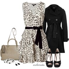 """DKNY Beige and Black"" by archimedes16 on Polyvore"