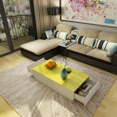 Get Your White Coffee Table With Yellow Top Now At Amonet. Shop Now White Coffee Table With Yellow Top Best Price Guaranteed Furniture, High Gloss Paint, Sectional Couch, Shopping, Table, Home Decor, White, Coffee Table, Yellow