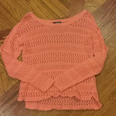 Cute sweater Great condition!  Size petite large.  Very pretty peach color ana Sweaters Crew & Scoop Necks