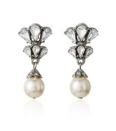 Crystal Earring with Pearl Drop | 30070053 | Thomas Laine