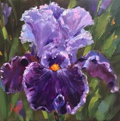 "Daily Paintworks - ""Tall bearded Iris : captain thunderbolt "" - Original Fine Art for Sale - © Krista Eaton Iris Painting, Garden Painting, Oil Painting Abstract, Iris Art, Flower Artwork, Sky Art, Iris Flowers, Watercolor Flowers, Painting Inspiration"