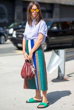 colors pencil skirt blue shirt nyfw ss16