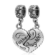 Father Daughter 925 Sterling Silver Charm Heart Love Bead Gifts from Dad -- Want to know more, click on the image.